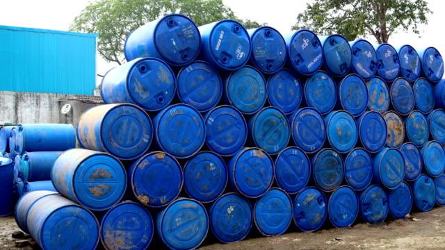 blue plastic barrel - oil industry stock videos & royalty-free footage