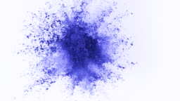Blue powder exploding on white background in super slow motion