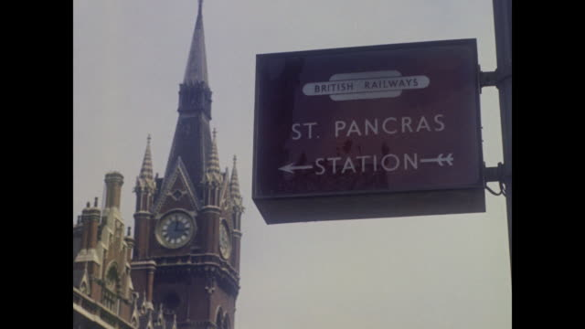 1960 - blue pullman arrives at st. pancras station, london - passenger train stock videos & royalty-free footage