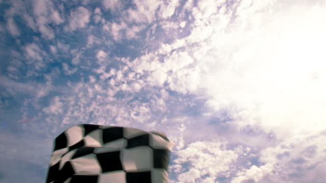 vídeos de stock e filmes b-roll de slo mo. blue racing team waves checkered flag and cheers to celebrate stock car victory. - competição