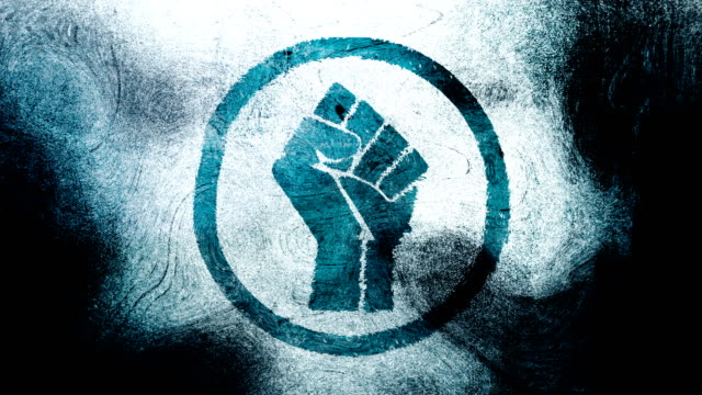 Blue raised fist symbol on a high contrasted grungy and dirty, animated, distressed and smudged 4k video background with swirls and frame by frame motion feel with street style for the concepts of solidarity,support,human rights,worker rights,strength