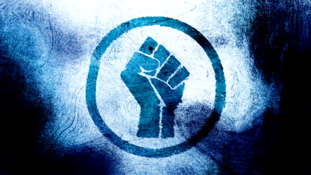 blue raised fist symbol on a high contrasted grungy and dirty, animated, distressed and smudged 4k video background with swirls and frame by frame motion feel with street style for the concepts of solidarity,support,human rights,worker rights,strength - smudged stock videos & royalty-free footage