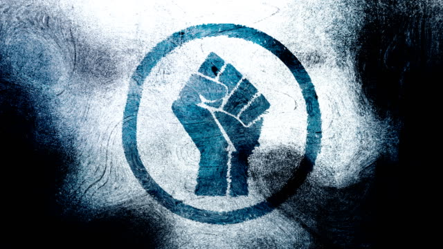 blue raised fist symbol on a high contrasted grungy and dirty, animated, distressed and smudged 4k video background with swirls and frame by frame motion feel with street style for the concepts of solidarity,support,human rights,worker rights,strength - tecnica grunge video stock e b–roll