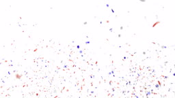 Blue, red and white festive confetti explosion falling down on a white background.
