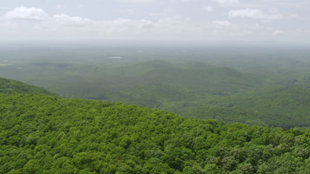 WS AERIAL POV Blue Ridge Mountains with forest area in Chattahoochee National Forest / Gilmer County, Dawson County, Georgia, United States