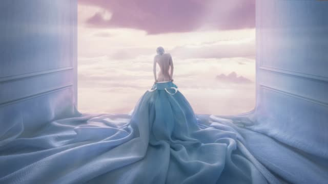blue room and blue dress - surrealism stock videos & royalty-free footage