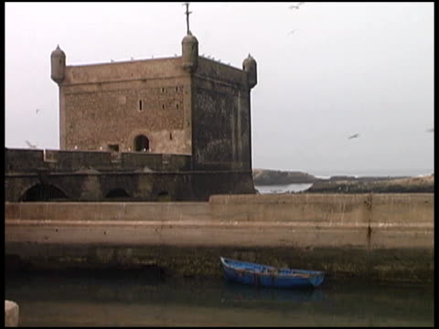 blue rowboat moored against castle - medium group of animals stock videos & royalty-free footage