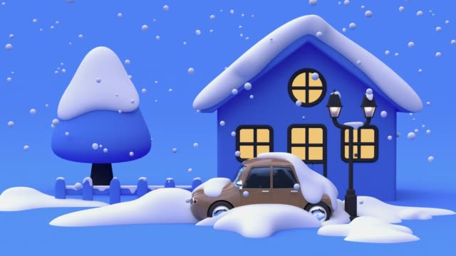 blue scene winter snowing nature cartoon style 3d rendering
