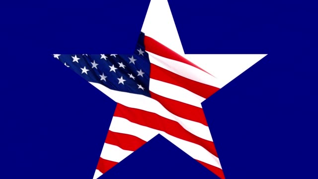 Blue scene with star opening up in middle to reveal an American Flag flying on white background.
