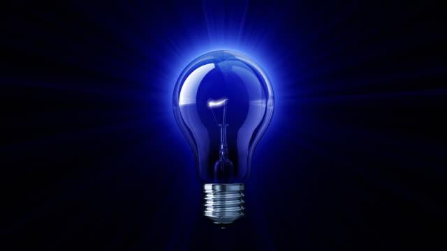vídeos de stock e filmes b-roll de azul brilhar de lâmpada (hd 1080 - lampada