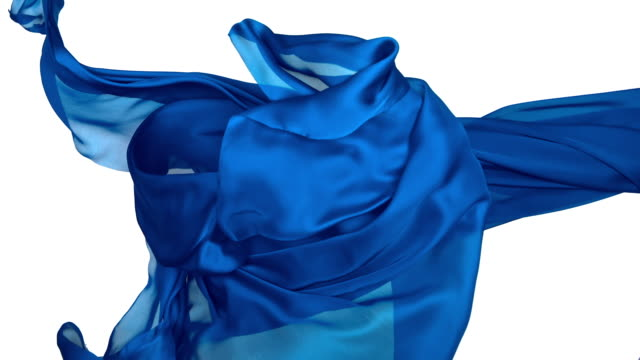 vídeos y material grabado en eventos de stock de blue silky fabric flowing and waving horizontally in super slow motion and close up, white background - flotando en el aire
