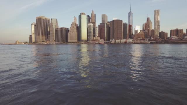 Blue sky and Manhattan skyline, New York, United States