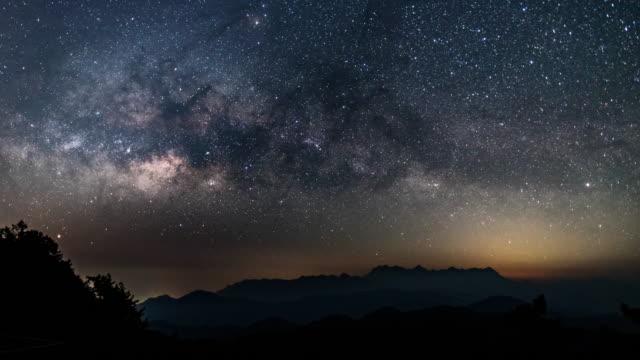vídeos de stock e filmes b-roll de blue sky and star galaxy on the mountain , time lapse movement - reclusão
