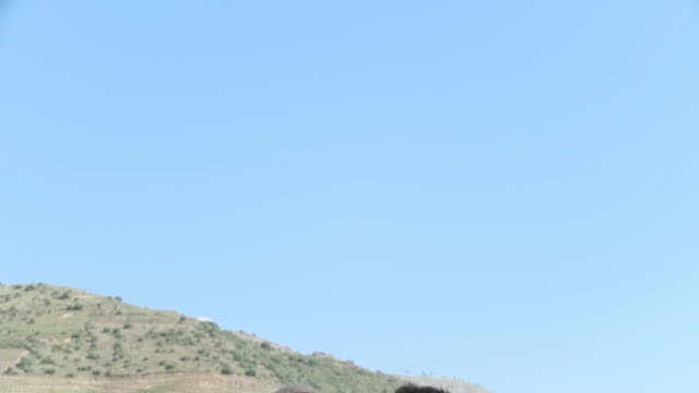 blue sky and tilt down to couple sitting by douro river - bluse stock-videos und b-roll-filmmaterial