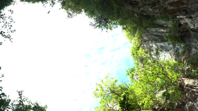 blue sky from inside of cave