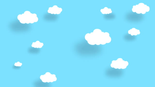 4k blue sky full of clouds moving down. cartoon sky background. flat animation.alpha luma matte included. - poster template stock videos and b-roll footage