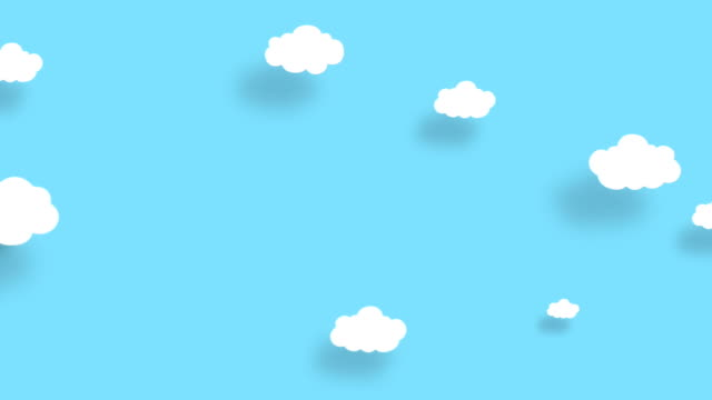 4k blue sky full of clouds moving right to left. cartoon sky background. flat animation. alpha luma matte included. - cloud matte stock videos & royalty-free footage