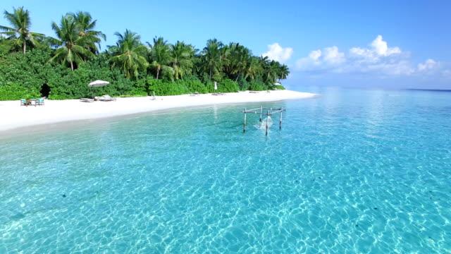 blå himmel, turkos hav, vit sand och gröna palmer i maldiverna-ayada island - lyxhotell bildbanksvideor och videomaterial från bakom kulisserna