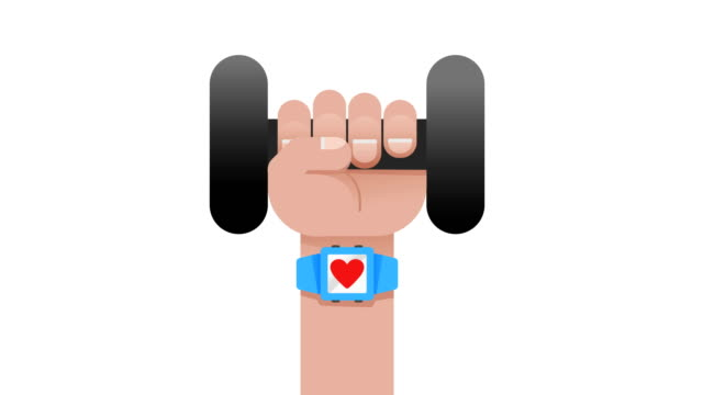 blue smart watch sport,fitness application concept on touchscreen showing the heartbeat with a heart while a hand working out with a dumbbell motion loop able 4k video,fitness technology,health,smartphone,healthy life, body building concepts - human heart stock videos & royalty-free footage