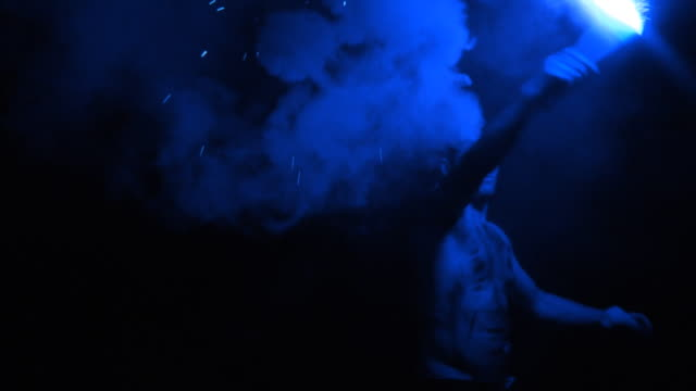blue smoke silhouette - flaming torch stock videos & royalty-free footage