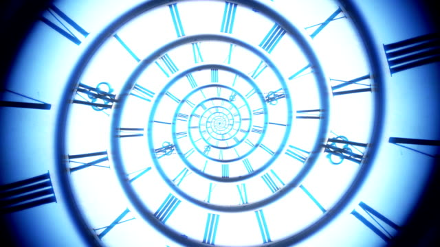 blue spiral retro clock animation - the past stock videos & royalty-free footage