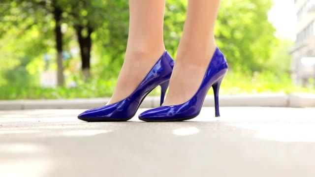blue stilettos - high heels stock videos & royalty-free footage