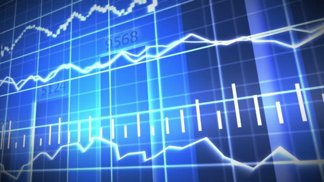 blue stock market graph and bar chart - rischio video stock e b–roll