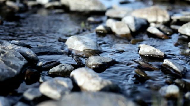 Blue stream runs through white rocks