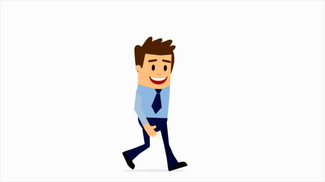 blue suit businessman walking flat cartoon character animation. 4k animation with alpha channel. - matte icon stock videos & royalty-free footage