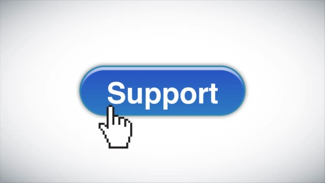blue support web interface button clicked with mouse cursor 4k stock video - cursor stock videos & royalty-free footage
