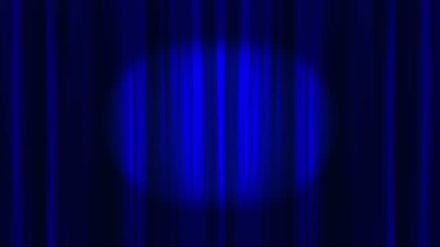blue theatre curtains opening to reveal an empty space saved with alpha channel - spotlight stock videos & royalty-free footage