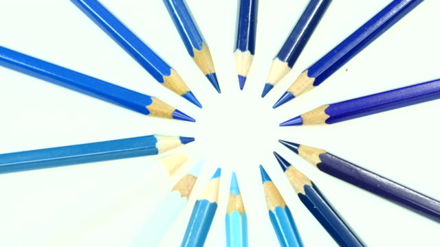 Blue tone color pencil. Top view.