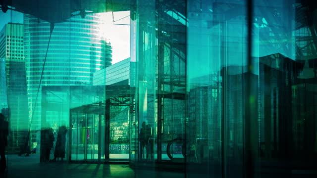 Blue Toned Financial Buildings at La Défense - Time Lapse