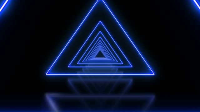 blue triangle abstract looped background tunnel - stage performance space stock videos & royalty-free footage