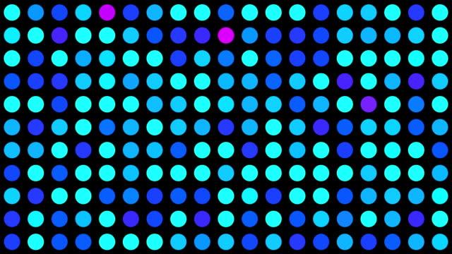 vidéos et rushes de bleu turquoise et rose cercles multicolores clip fond quadrillé de pois avec effet generative aléatoires sur fond noir - pic flamboyant