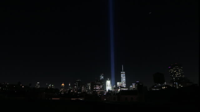 blue twin towers tribute lights 2016 - september 11 2001 attacks stock videos and b-roll footage