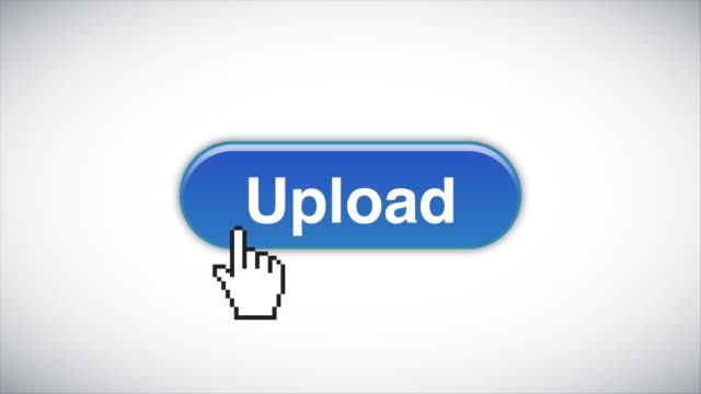 vídeos de stock e filmes b-roll de blue upload web interface button clicked with mouse cursor 4k stock video - arrow symbol