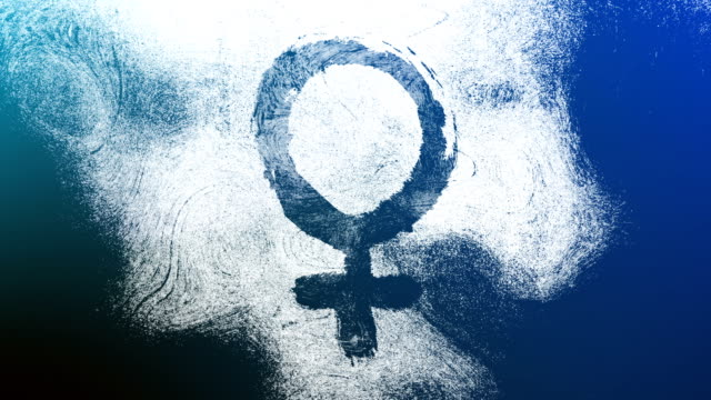 Blue Venus, female, gender symbol on a high contrasted grungy and dirty, animated, distressed and smudged 4k video background with swirls and frame by frame motion feel with street style for the concepts of gender equality, women-social issues