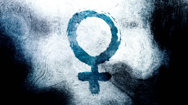 blue venus, female, gender symbol on a high contrasted grungy and dirty, animated, distressed and smudged 4k video background with swirls and frame by frame motion feel with street style for the concepts of gender equality, women-social issues - gender symbol stock videos and b-roll footage