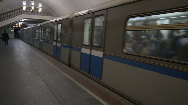 blue, white and grey subway in underground tunnel - moscow, russia - grey colour stock videos & royalty-free footage