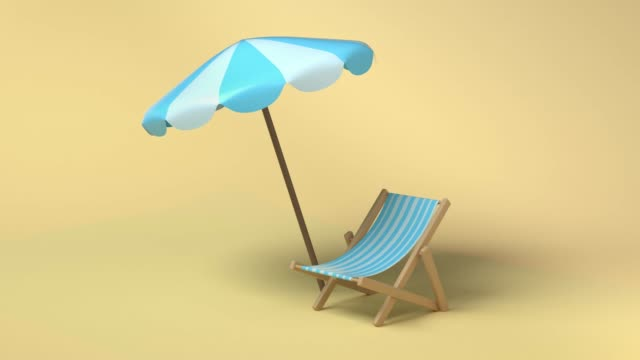 blue white umbrella beach and chair 3d rendering abstract nature beach sea travel vacation concept - still life stock videos & royalty-free footage