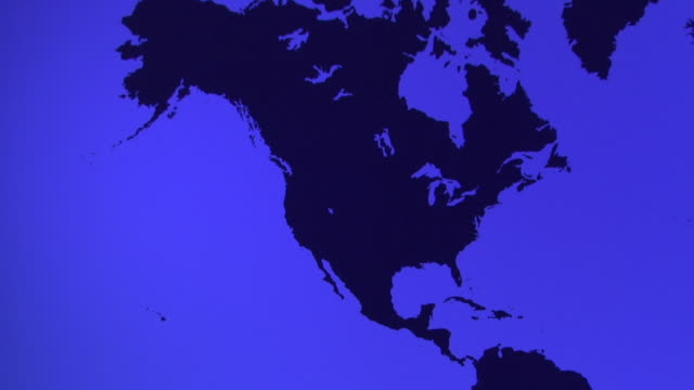 MS, TD, Blue World map showing Americas