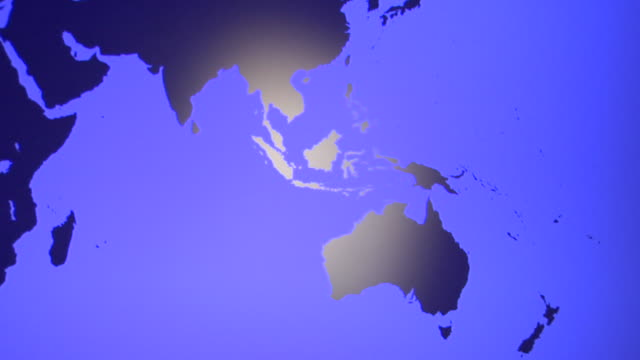 ms, tu, blue world map showing australia and europe - map stock videos & royalty-free footage
