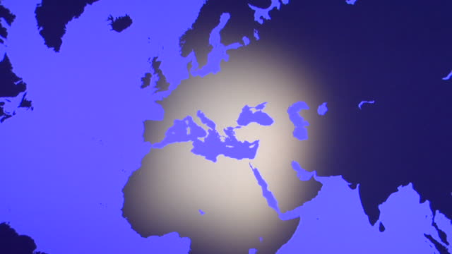 ms, td, blue world map showing europe and australia - western europe stock videos & royalty-free footage
