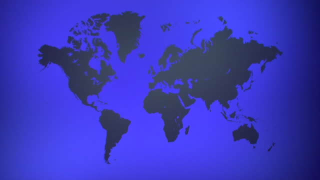 zi, ms, blue world map with silhouettes of continents - planisfero video stock e b–roll