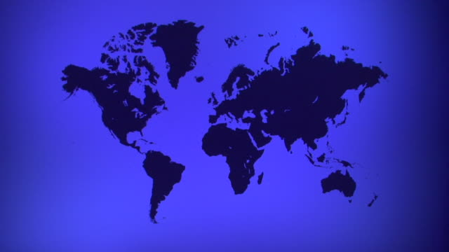 ws, zi, blue world map with silhouettes of continents - world map stock videos & royalty-free footage