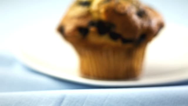 a blueberry muffin is on a plate. - muffin stock videos and b-roll footage