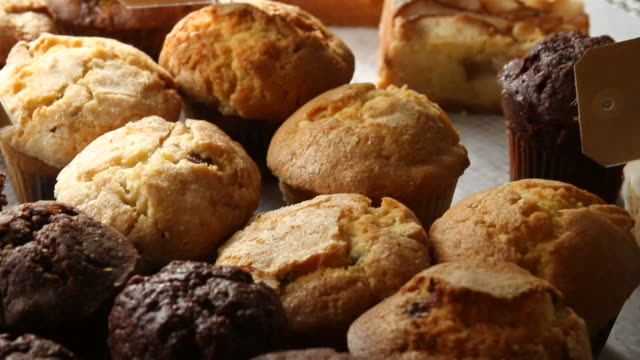 blueberry muffins on a plate - blueberry muffin stock videos & royalty-free footage