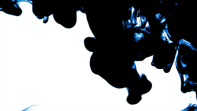 HD Blue-black ink dissolving in water