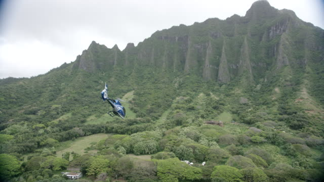 a-a blue/grey airbus h-130 helicopter comes in for landing on helipad, kauai, hawaii - ヘリポート点の映像素材/bロール